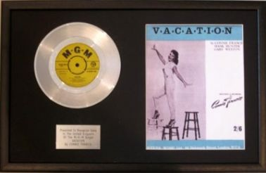 CONNIE FRANCIS Platinum Disc & Songsheet  VACATION